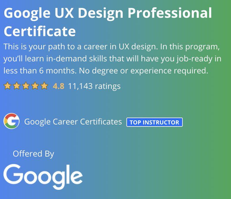 Google UX Design Professional Certificate Coursera